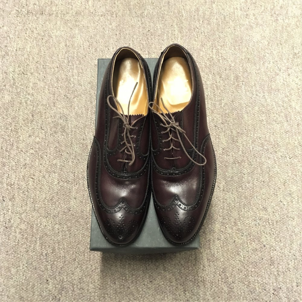 #929 - Hampton LastDark Burgundy Calfskin - Wing Tip Balmoral - Leather SoleDiscontinued ModelLAST PAIR SIZE 10DMSRP $569Contact us for Pricing and Availability