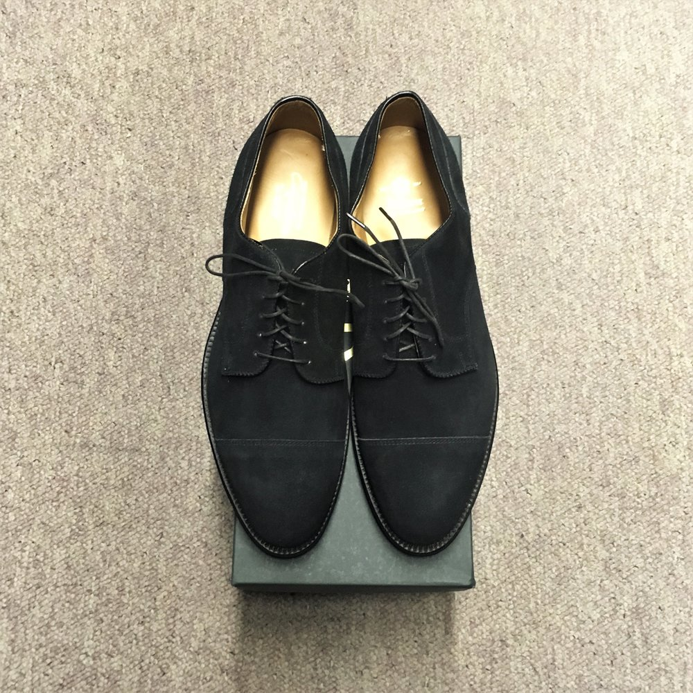 #2183 - Aberdeen LastBlack Smoke Suede - Straight Tip Blucher - Doublet Leather SoleCustom ModelLAST PAIRS SIZES 10 EEE & 11DMSRP $569Contact us for Pricing and Availability