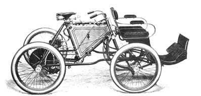 1900 - Ariel Quadricycle  Dion 344cc engine, Watercooled head 2 seater, 3 wheel single seat option Elyptical springs, pneumatic tires