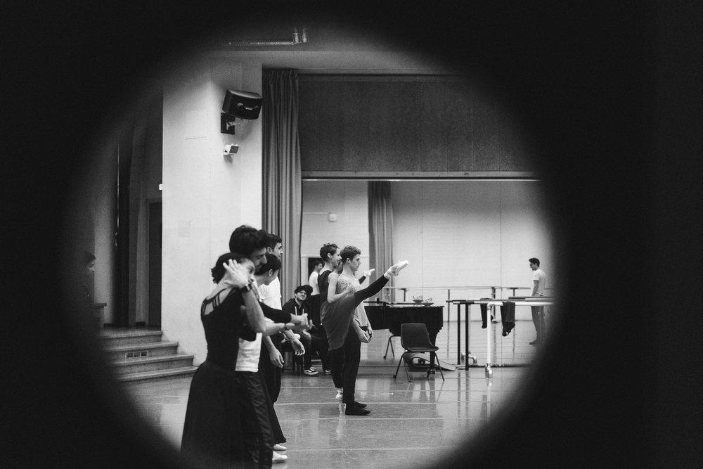 Paris Opera Ballet dancers rehearsing ENTRE CHIEN ET LOUP