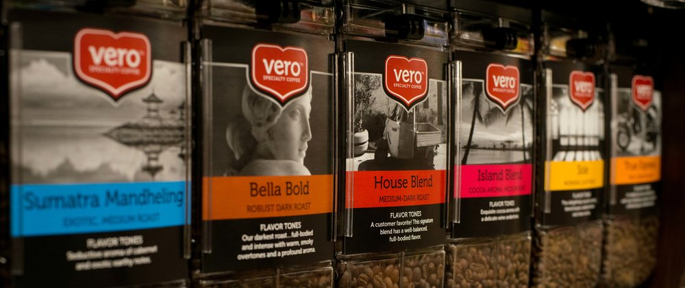 Brew at home. - Visit us in the grocery aisle and take home a bag of fresh roasted Vero coffee. You're sure to fall in love with our entire collection of distinctive blends.