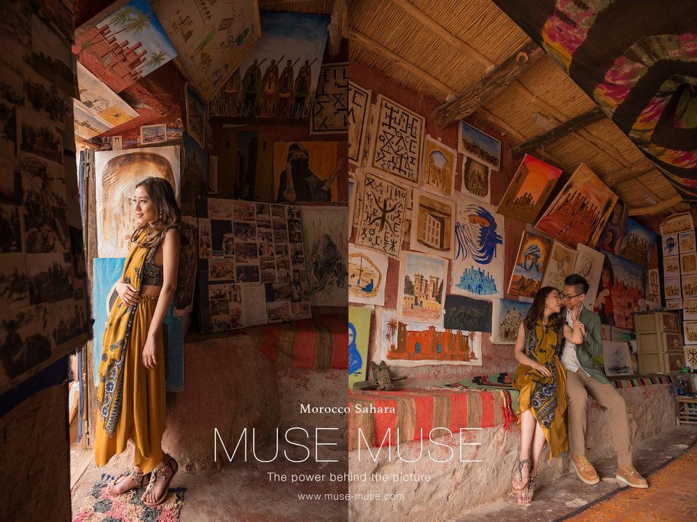 上圖:在進入撒哈拉沙漠的路上,我們途經埃本哈杜古城,在城裡面都仍保留一些小店,我們經響導溝通之下來到這家畫店拍攝,很喜歡,充滿特色啊!