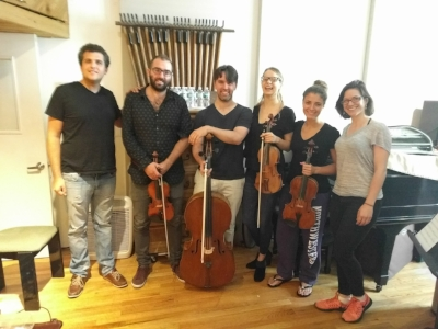 "Assaf and I with the String Quartet from ""Music That Makes the Wind Blow"".    Brendan Speltz, violin; Lavinia Pavlish, violin; Milena Pajaro-van der Stadt, viola; Andrews Janss, cello. Recorded at Headline Studio, Mamaroneck, NY."