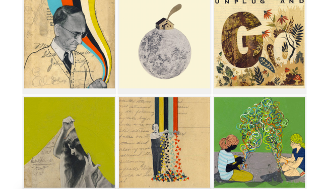 Thumbnails of artwork by Hollie Chastain, the artist I have selected for the Album Cover. Click to see her mesmerizing collages.