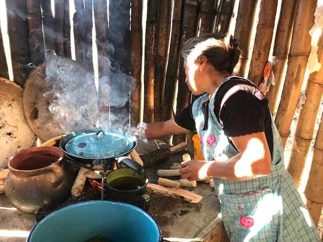 Julieta cooking nopales on her fire