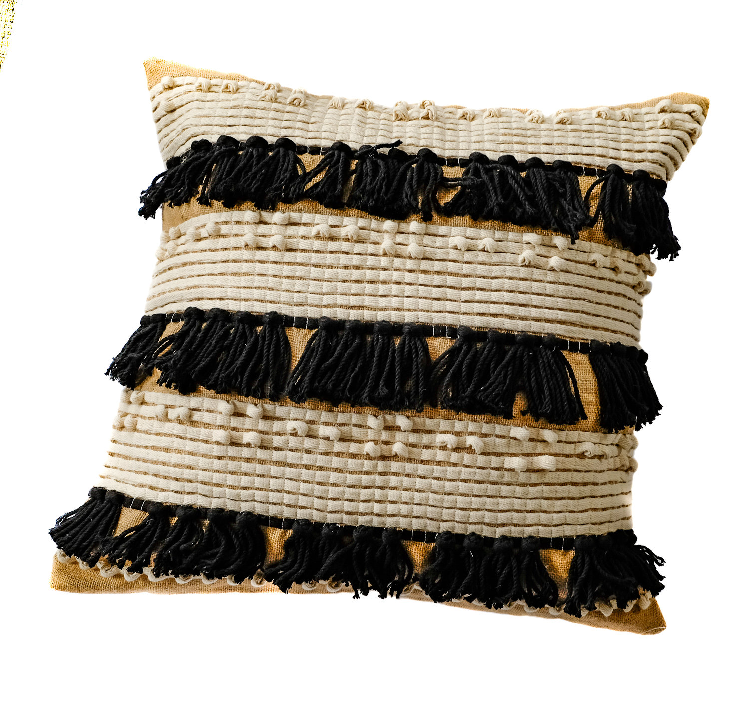 black and tan sprinkle tassel accent pillow