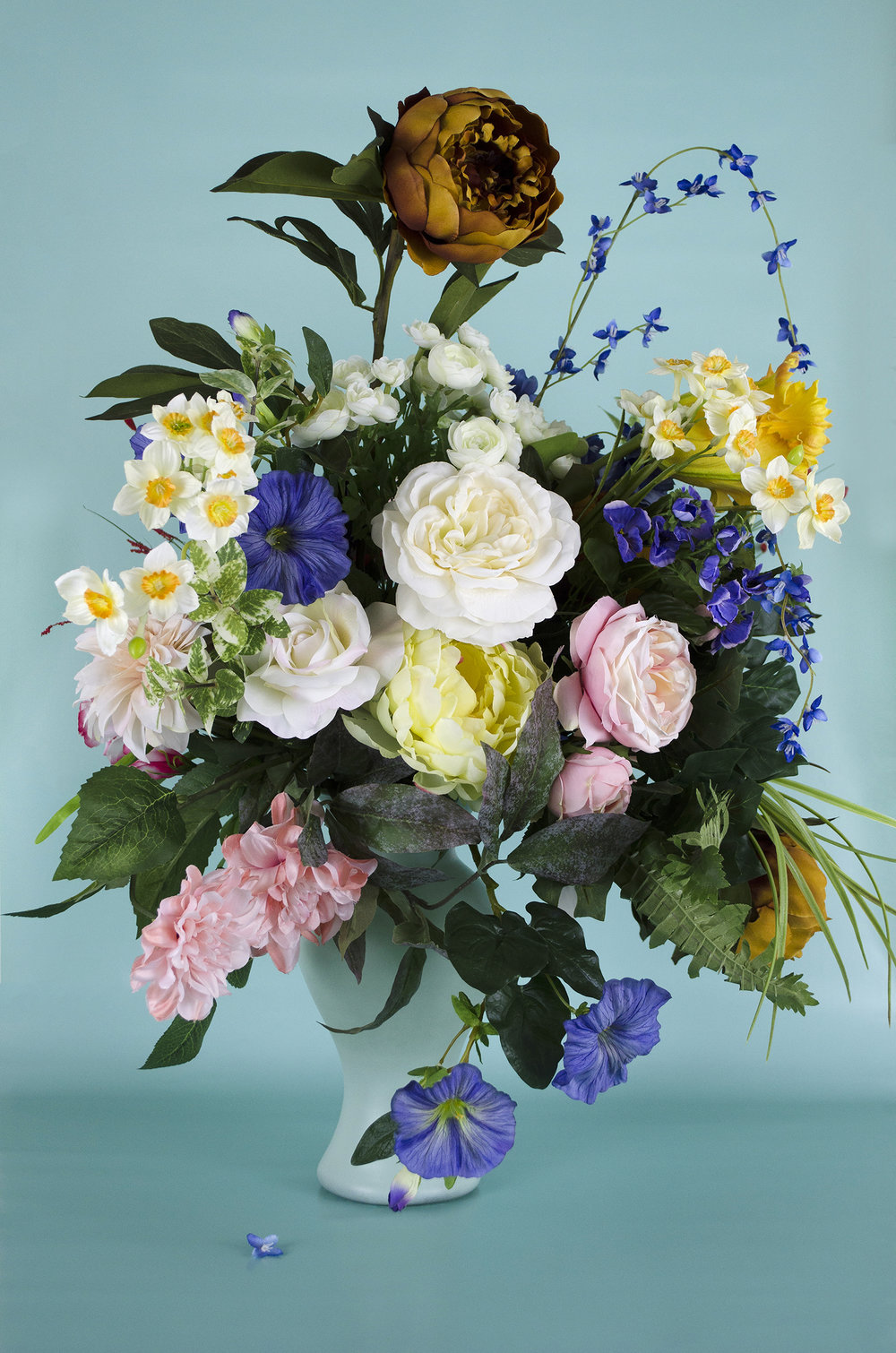 Silk Flowers in a Vase with a Peony and Apple Blossom at the Top