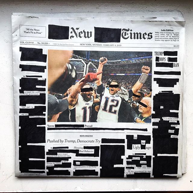 "Monday, February 4, 2019. . ""Pushed by Trump, Democrats try showing bad behavior."" ""Untitled."" ""Monster revives oil."" . . . . . #erasurepoetry  #blackoutpoetry #blackoutpoem #newyorktimes #poetry #poetryofinstagram #poems #makeblackoutpoetry #foundpoetry #politicalart #Artactivism #artnyc #nycart #bookofpoets"