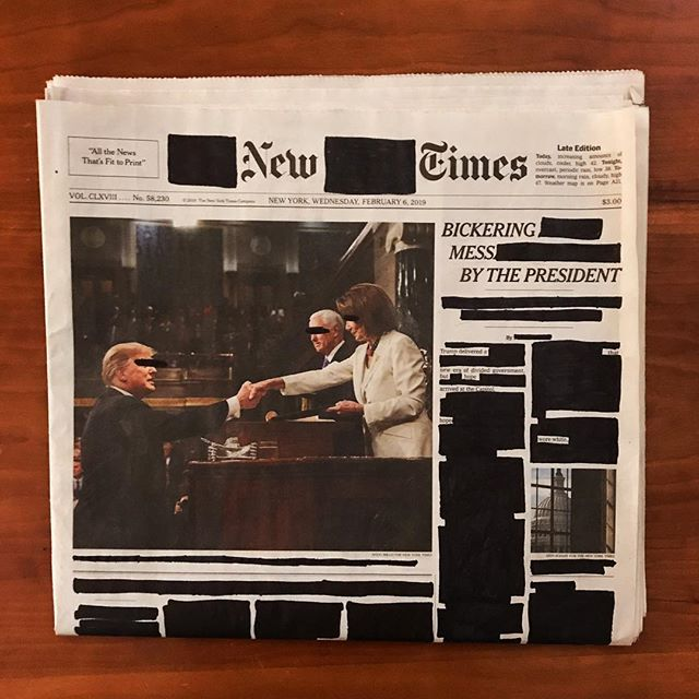 "Wednesday, February 6, 2019. . ""Bickering Mess By The President."" ""No."" ""In the West Bank, With Food."" . . . . . #erasurepoetry  #blackoutpoetry #blackoutpoems #newyorktimes #nytimes #poetry #poetryofinstagram #poems #makeblackoutpoetry #foundpoetry #politicalart #Artactivism #artnyc #nycart #news"