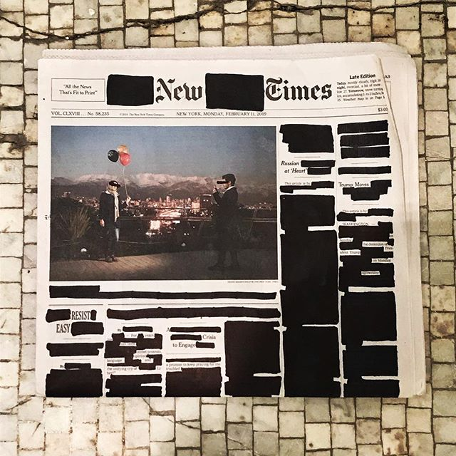 "Monday, February 11, 2019. . ""Trump Moves."" ""A Crisis To Engage."" ""Untitled."" ""Youth Views On Race."" . . . . .  #erasurepoetry #erasurepoem #blackoutpoetry #blackoutpoems #newyorktimes #nytimes #poetry #poetryofinstagram #poems #makeblackoutpoetry #foundpoetry #politicalart #Artactivism #artnyc #nycart #art #artists"