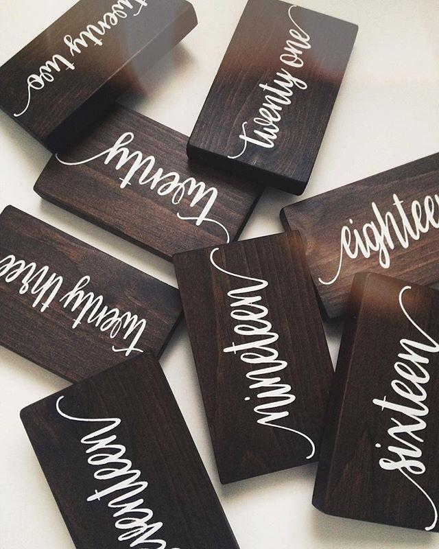 Need table numbers for your wedding? We've got ya covered! . . #wedding #weddingdecor #weddingrentals #tablenumbers #rusticwedding #woodsigns #hamont #hamontweddings #grainandhue