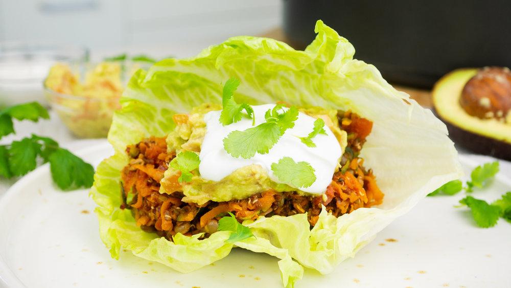 Lentil Taco Lettuce Wraps