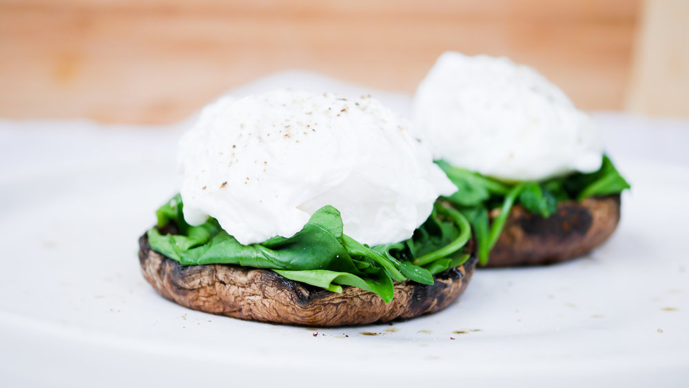 Poached Eggs on Mushrooms & Spinach