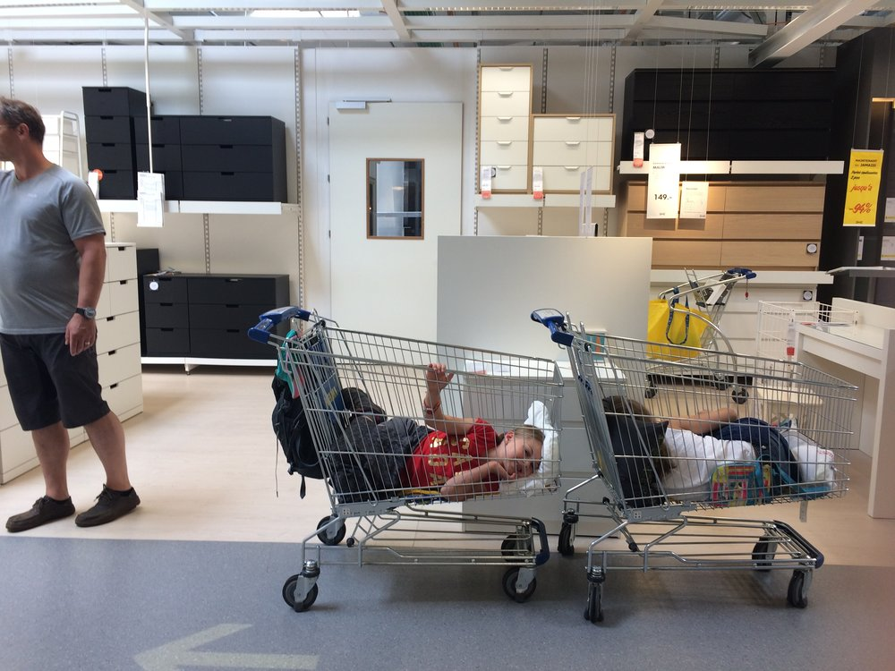 we found them passed out in the bed aisle - two carts later and we were good to go.  IKEA - the same thing all over the world...