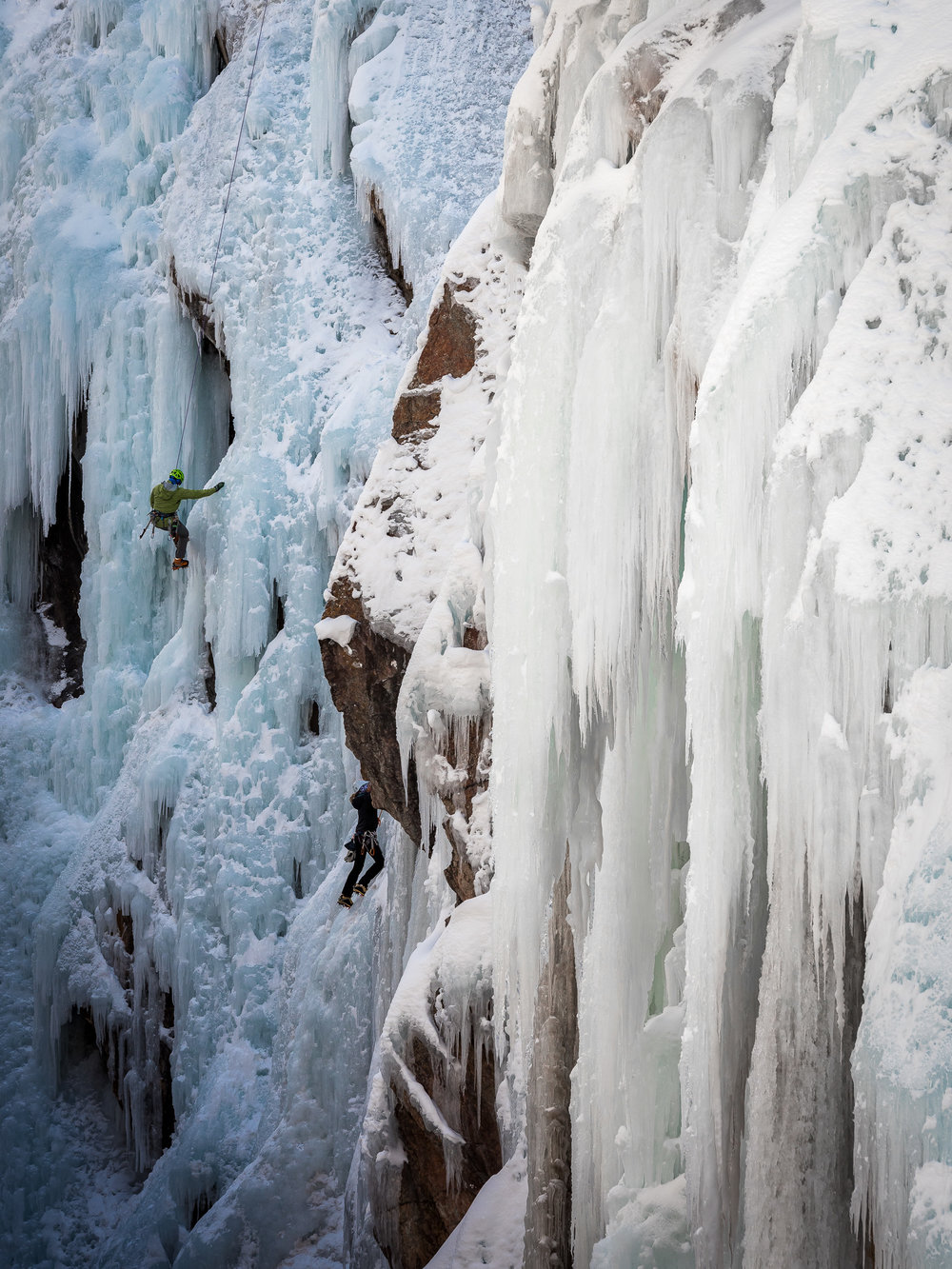 Massive icicles and Climber Green on the left