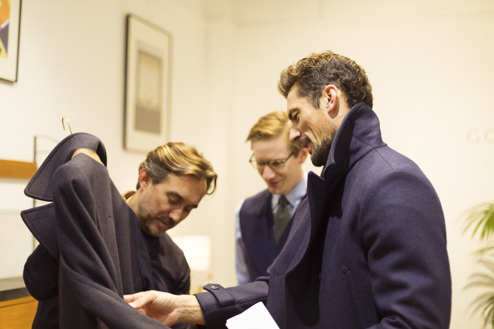David Gandy inspecting the new collection.
