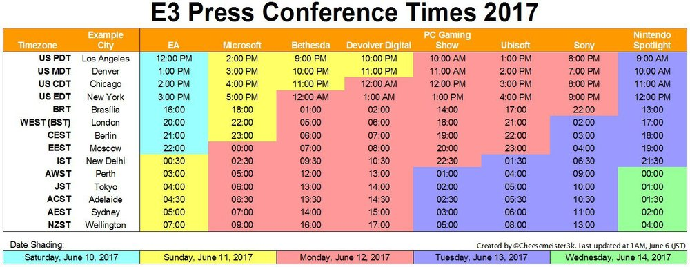 In case you're wondering whats happening and where over the next few days, here's the break down  of the 2017 Electronic Entertainment Expo (E3)