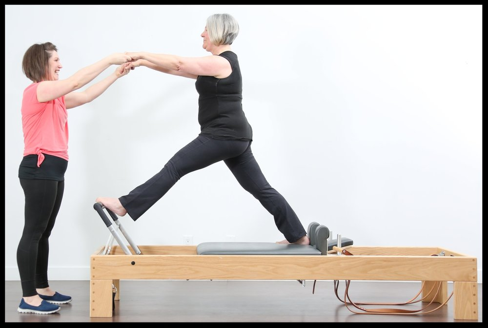 Front Split Standing on the Reformer. Amazing balance!