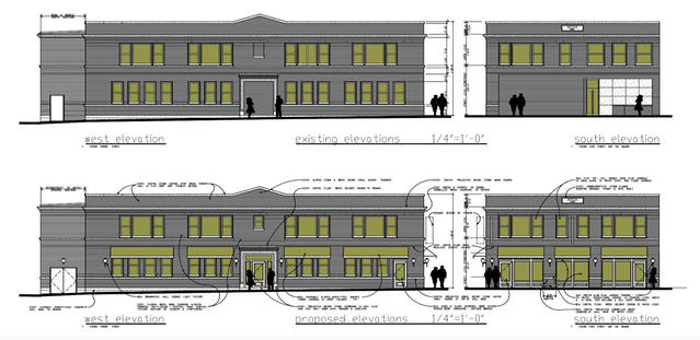 Top is the current building, bottom is the proposed update.