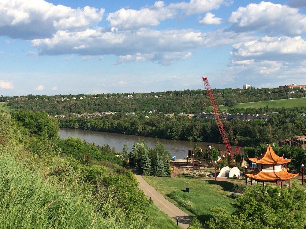 North Saskatchewan River which flows through Edmonton to Lake Winnipeg. Picture taken in Edmonton.