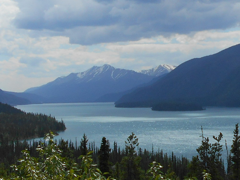 Beautiful Muncho Lake. The jade green colour is due to minerals in the bedrock.