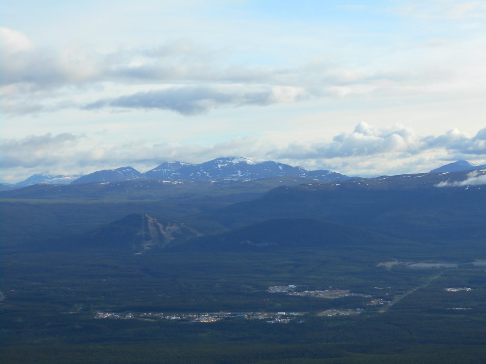 A small Whitehorse subdivision. Mt Sima ski hill center-left. Mt Granger in the distance.