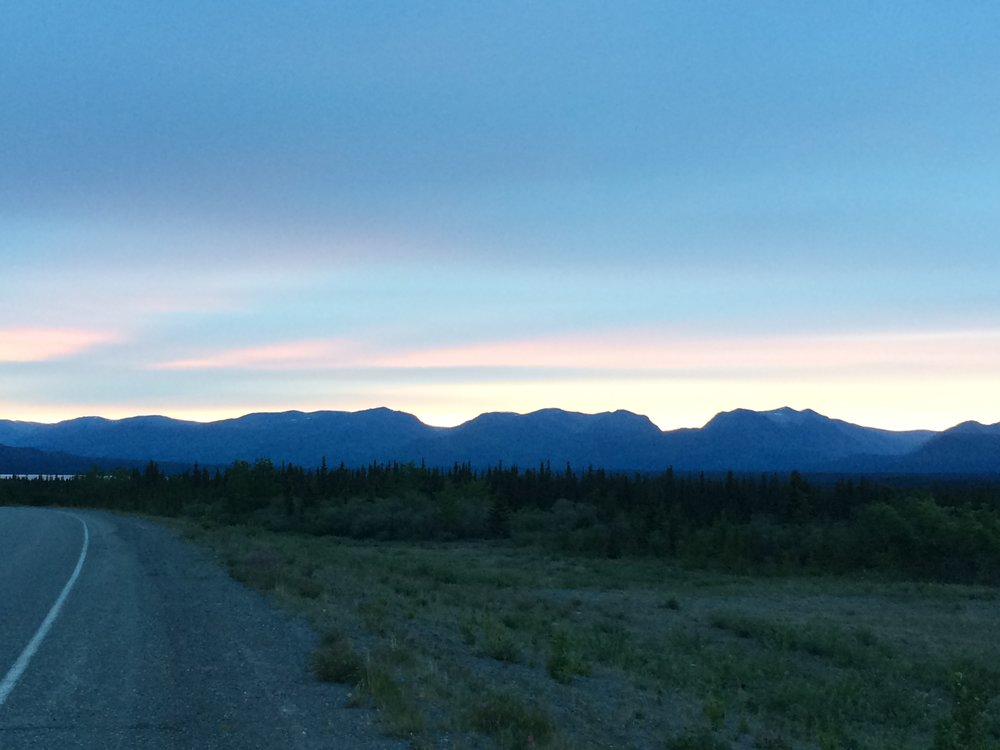 Picture taken at midnight (12 am) in Kluane. Land of the midnight sun.