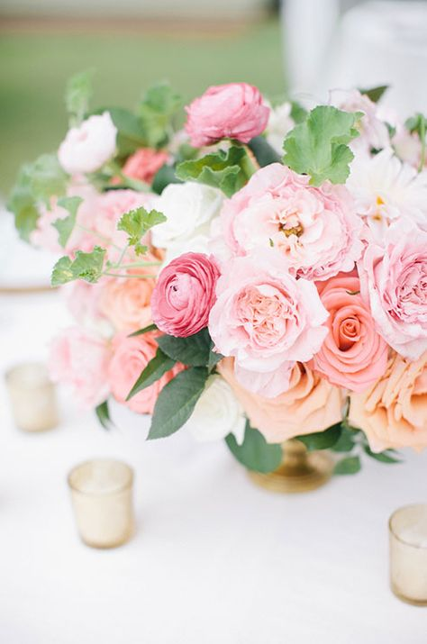 pink wedding flower centerpiece anya storm photography candle rose