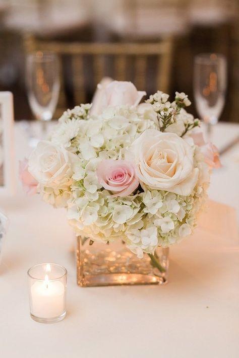 anya storm photography wedding centerpiece flower roses babys breath