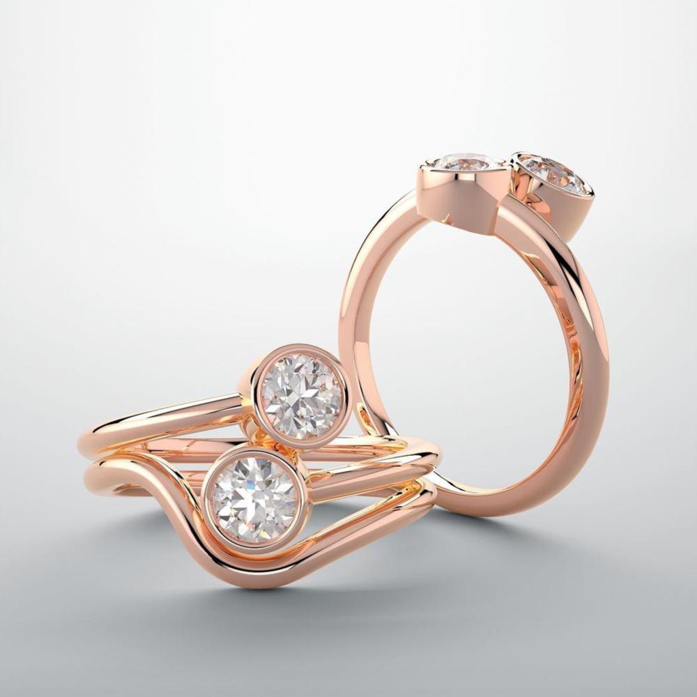 rose gold engagement ring wedding band eternity bridal infinity bezel diamond