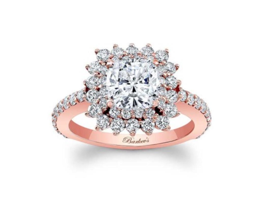 cushion cut rose gold engagement ring