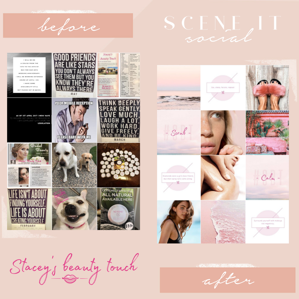 Stacey's Beauty Touch - WWW.STACEYSBEAUTY.COM.AUStacey's Beauty Touch is a beauty salon based on the Sunshine Coast. Stacey wanted her social media feed to showcase a feminine yet coastal vibe. It was her goal to have a social media makeover while also making sure it still reflected who she was.