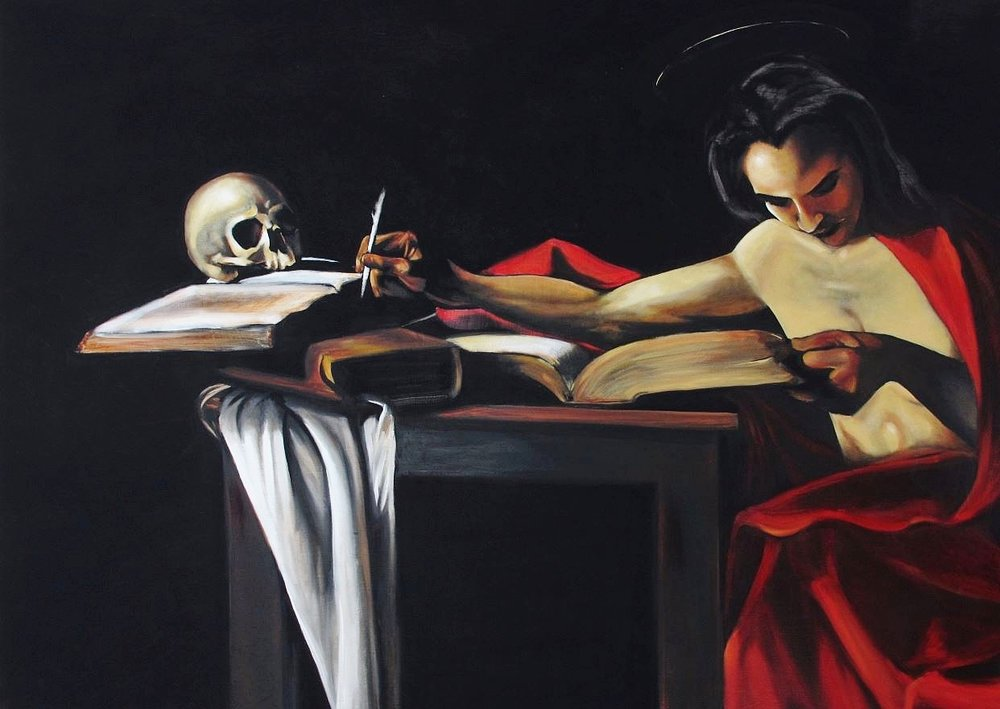 """Santa Carina Escribiendo""- ""Saint Carina Writing"""