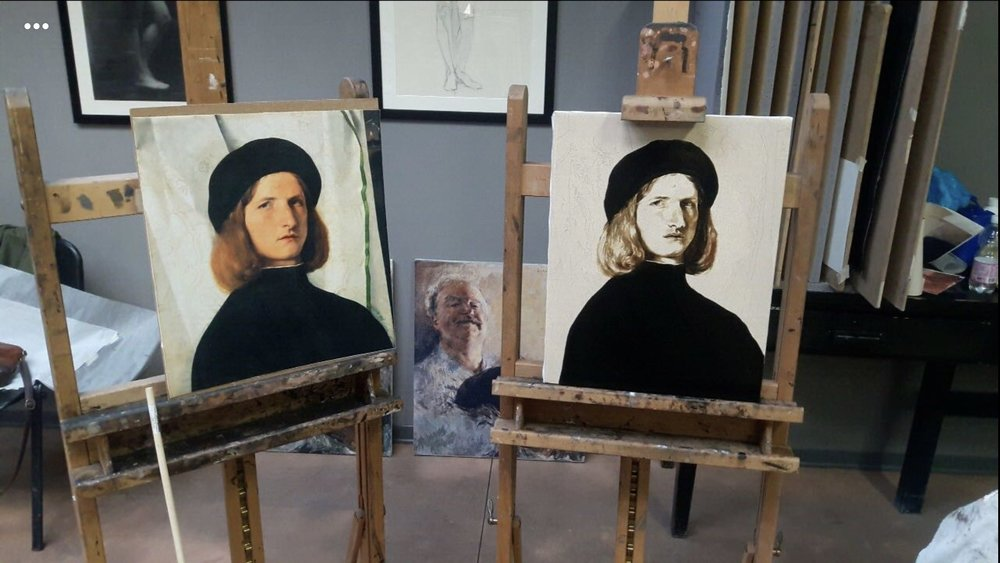 "During the first week of the workshop, the first image I copied to learn the process in which the classical portraits were developed was Lorenzo Lotto's ""Portrait of a Young Man with a Lamp"". This image shows the piece in progress."