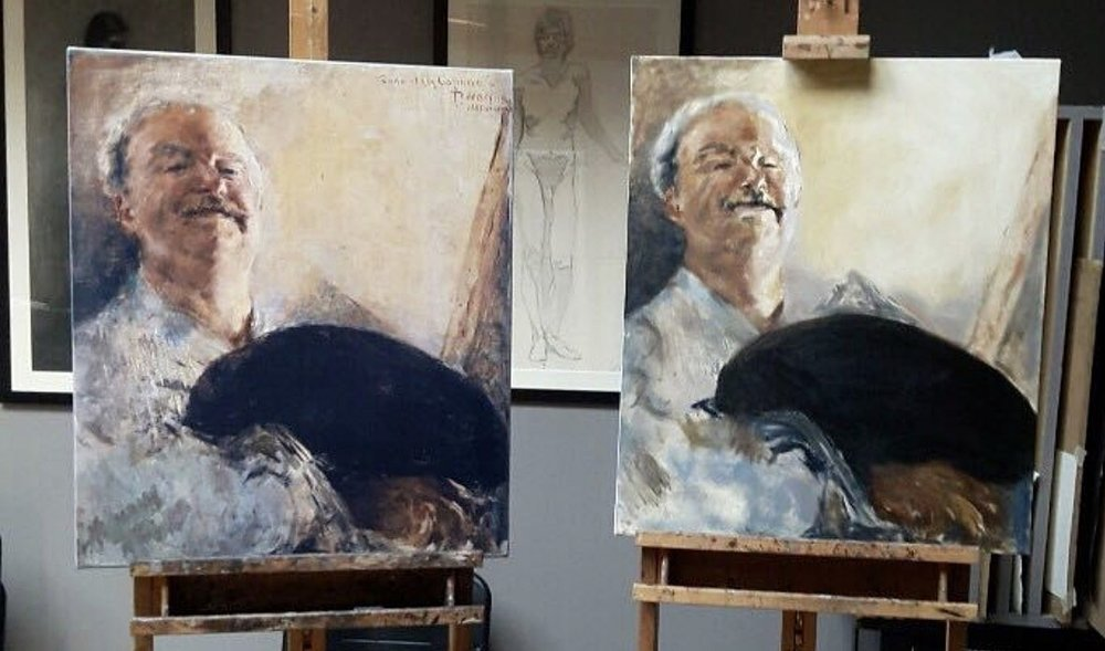 "During the second week of the course I studied Antonio Mancini's ""Self Portrait"". My image is on the right. (Available for Purchase)"