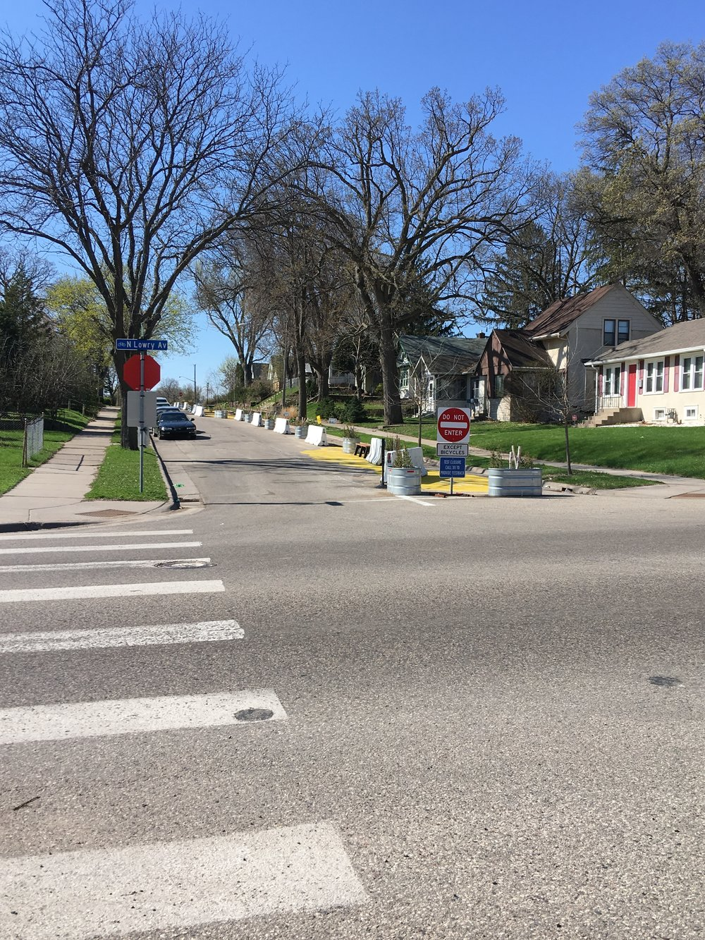 Irving Avenue N temporary bike lane installation