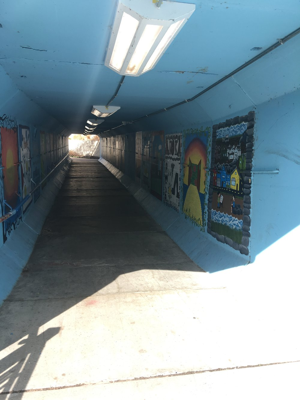 Main Street pedestrian tunnel painted by Anoka High School students