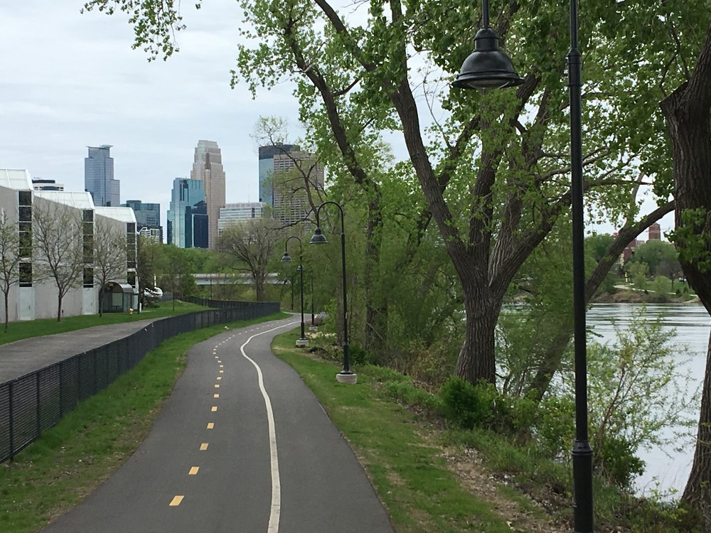 One of Minneapolis' new separate bike trails connecting the Northeast neighborhood to downtown