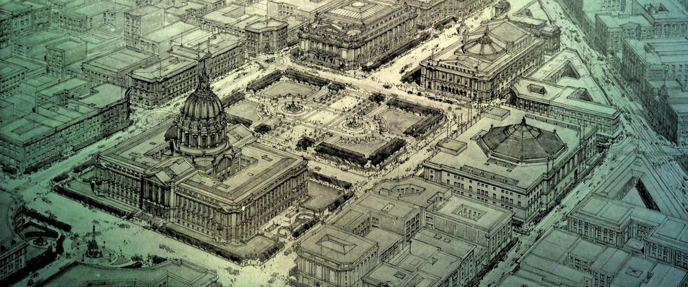 Depiction of the 1912 Plaza design (image courtesy of civiccentersf.org)