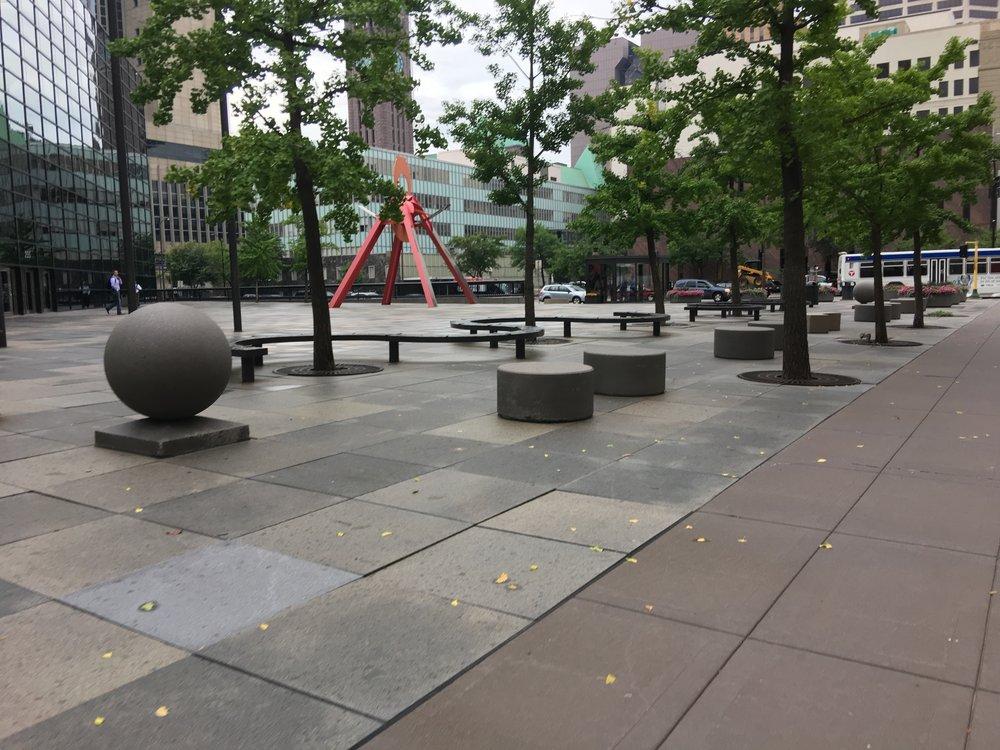 Empty downtown public square in Minneapolis