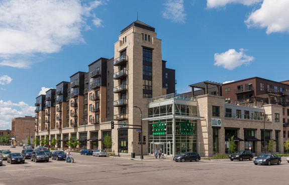 The Whole Foods development in downtown Minneapolis that achieved a LEED Silver rating (image courtesy of oakwood.com)