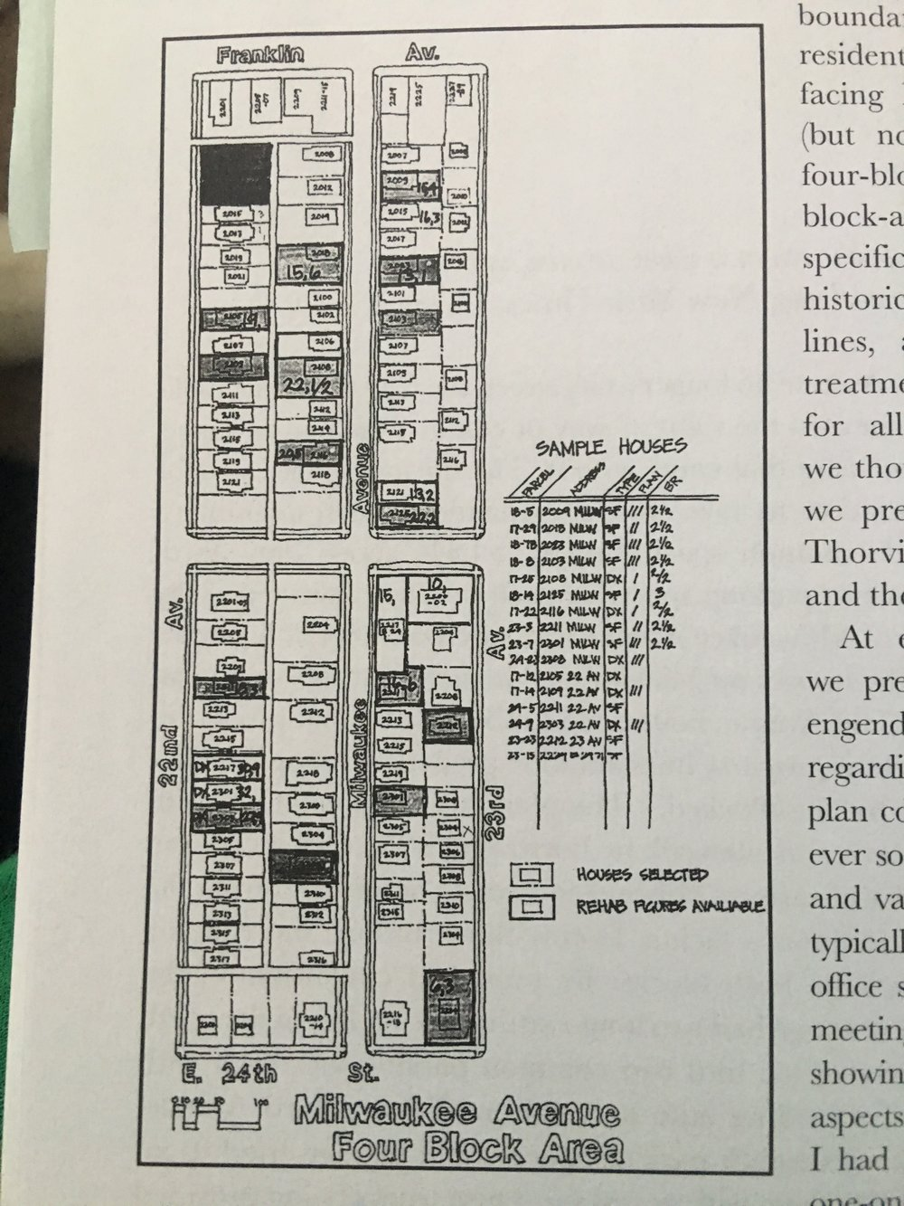 The four block area where rehab efforts were focused (image from the book)