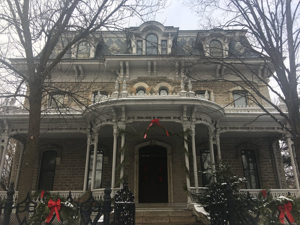 Alexander Ramsey house decorated for the holidays