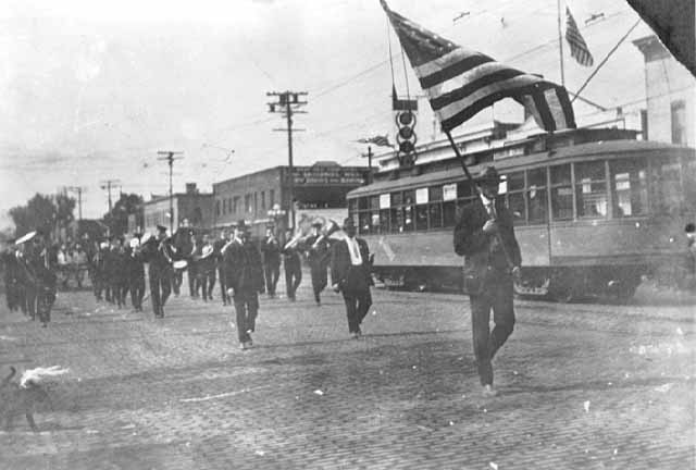 A Russian Parade on Central Avenue in 1919. You can see the former streetcar line in the background (photo courtesy of the Minnesota Historical Society)