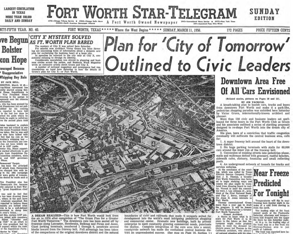 Headlines in the Fort Worth newspaper announcing the Gruen Plan for Fort Worth