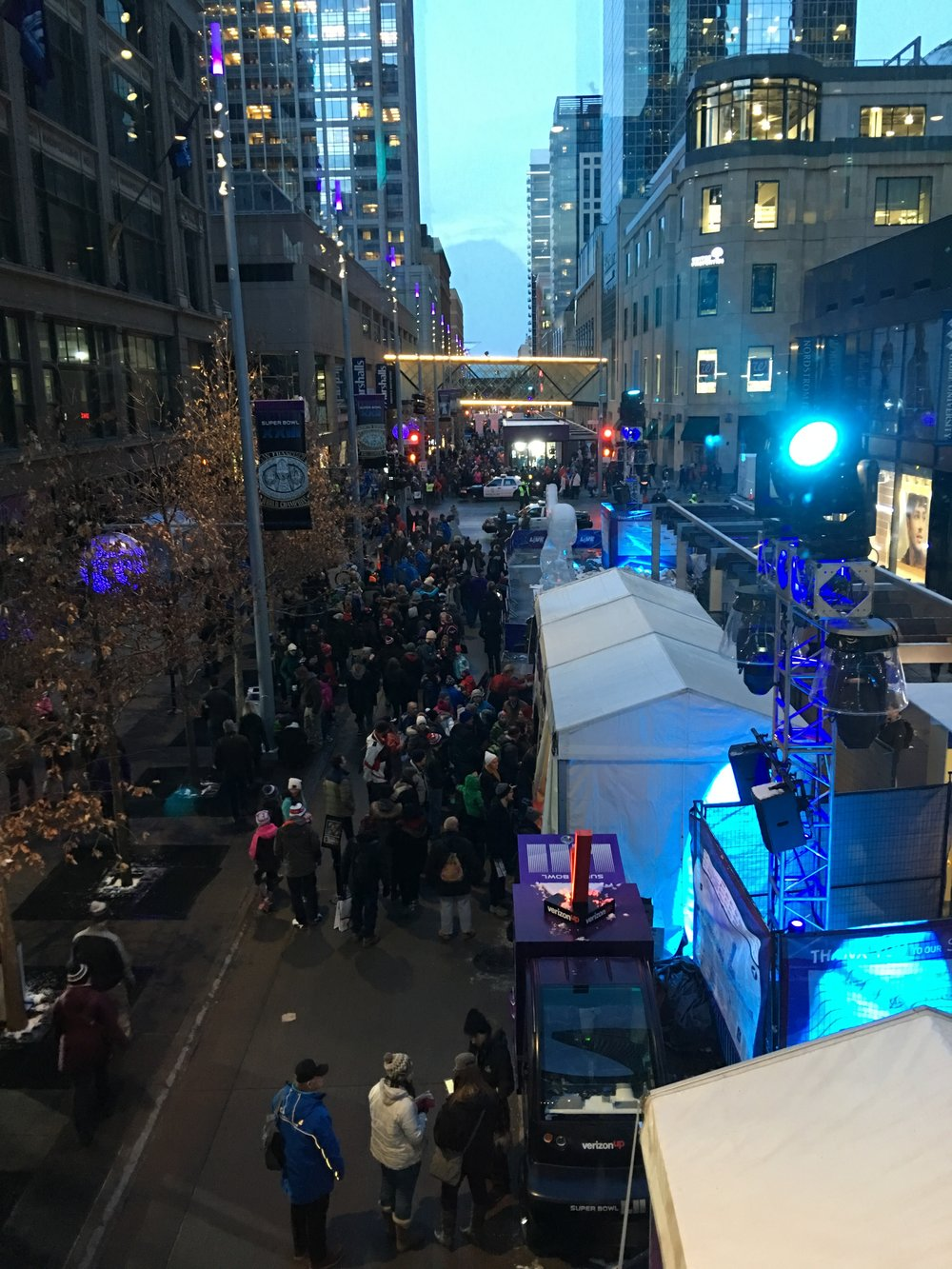 Nicollet Mall where the live concerts were held on a Wednesday night before the Super Bowl