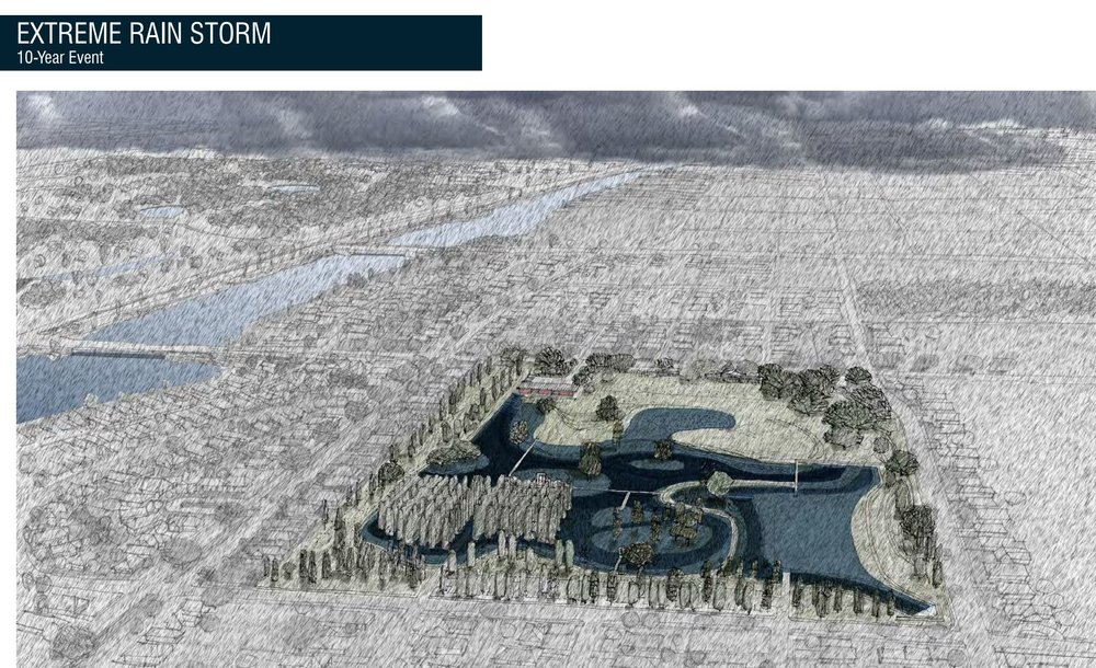 How the Maribou Water Garden will look after a 10 year storm event (image courtesy of nola.gov)