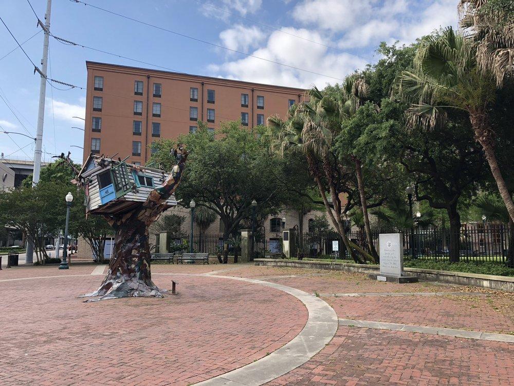 Artwork in one of the parks commemorating Hurricane Katrina