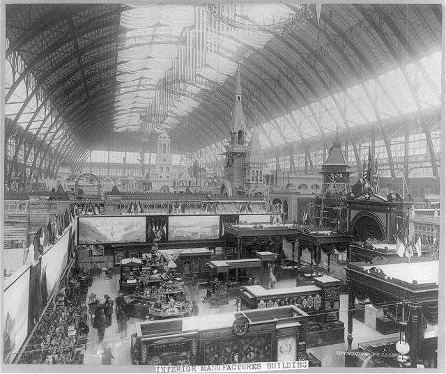 Interior of the Manufactures and Arts Building (Image from the Library of Congress)