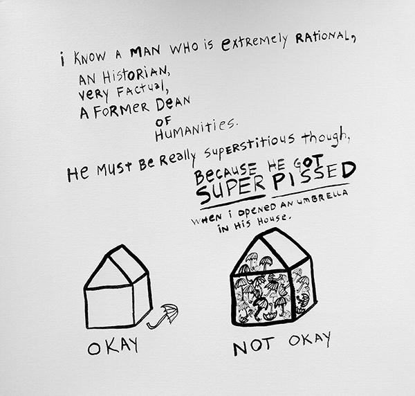 Megan Hildebrandt, SUPER PISSED, ink on paper, 18 x 18 in, 2015